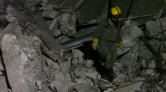 Stock Video Footage of Homeland Security Soldiers searches for earthquake casualties
