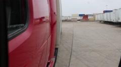 POV of Big Rig (Tractor/Trailer) Rear Mirror Stock Footage