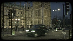 Street by Parliament. Vintage stylized video clip. Stock Footage