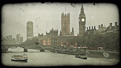 Boats on Thames. Vintage stylized video clip. Stock Footage