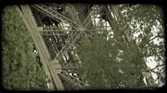 Eiffel Tower tram. Vintage stylized video clip. Stock Footage