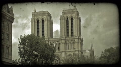 Notre Dame. Vintage stylized video clip. Stock Footage