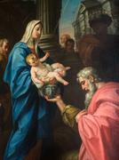 """Detail of the painting """"Jesus and the Three Wise Men"""". - stock photo"""