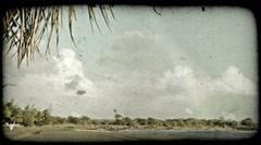 Quiet beach scene 2. Vintage stylized video clip. Stock Footage
