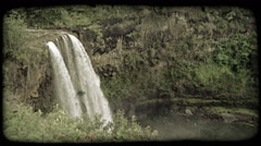 Waterfall and pool 1. Vintage stylized video clip. Stock Footage