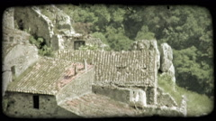 High-angle footage of ruined stone building. Vintage stylized video clip. Stock Footage