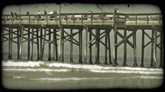 People fish on pier. Vintage stylized video clip. Stock Footage