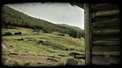 Cabin and mountain hillside. Vintage stylized video clip. Stock Footage