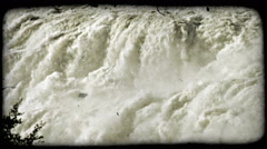 Edge of huge waterfall. Vintage stylized video clip. Stock Footage