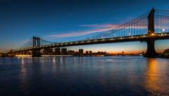 Stock Video Footage of Manhattan Bridge sunrise timelapse