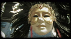 Headdress mask. Vintage stylized video clip. Stock Footage