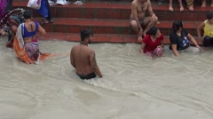 Bathing in the river Ganga in Haridwar 1 Stock Footage