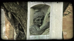 Italian Cemetery 15. Vintage stylized video clip. Stock Footage