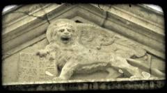 Lion Sculpture 2. Vintage stylized video clip. Stock Footage