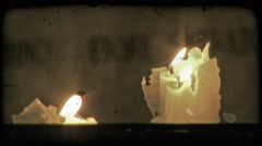 Lit Candles. Vintage stylized video clip. Stock Footage