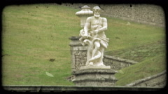 Man Statue. Vintage stylized video clip. - stock footage