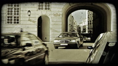 Traffic on the streets of Rome, Italy. Vintage stylized video clip. Stock Footage