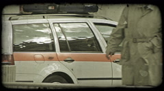 A police car going through the streets of Rome, Italy. Vintage stylized video Stock Footage