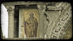 Static shot of a fresco painting on a church wall. Vintage stylized video clip. Stock Footage