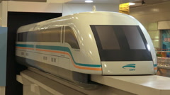 Model of Shanghai Maglev Train in the Train Station Stock Footage