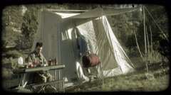 Couple camping. Vintage stylized video clip. Stock Footage