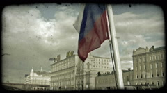 Russian flag on boat. Vintage stylized video clip. Stock Footage