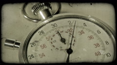 Close-up shot of a stopwatch. Vintage stylized video clip. Stock Footage