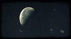 Moon on blue sky. Vintage stylized video clip. Stock Footage