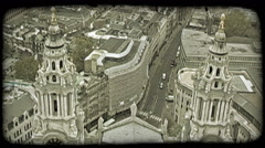 Overlook of London. Vintage stylized video clip. Stock Footage