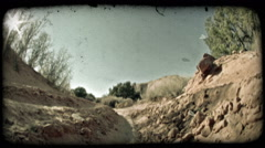 Jeep in dirt ditch. Vintage stylized video clip. Stock Footage
