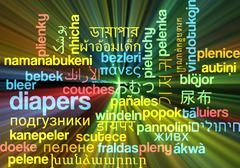 Diapers multilanguage wordcloud background concept glowing - stock illustration