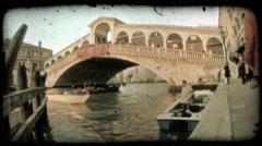 Venice Bridge 3. Vintage stylized video clip. Stock Footage