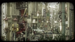 Street in Chinatown. Vintage stylized video clip. Stock Footage