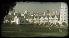 Alamo Square 2. Vintage stylized video clip. - stock footage