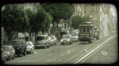 San Fransisco trolley. Vintage stylized video clip. Stock Footage