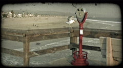 Red viewer on pier. Vintage stylized video clip. Stock Footage