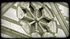 Cathedral structure. Vintage stylized video clip. Stock Footage