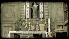 Stock Video Footage of Cathedral Alter 1. Vintage stylized video clip.