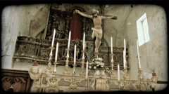 Cathedral Christ. Vintage stylized video clip. Stock Footage