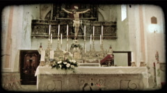 Stock Video Footage of Cathedral Alter. Vintage stylized video clip.