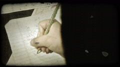 Young boy writes letter. Vintage stylized video clip. Stock Footage