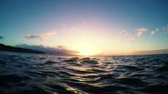 Floating Sunset View from the Ocean Stock Footage