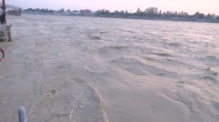 Flooded River Ganga in Rishikesh 3 Stock Footage