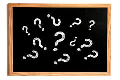 Many Chalk Question Marks Text on Chalkboard with Wooden Frame Isolated on Wh - stock illustration
