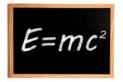 Einstein Energy Formula E=mc2 Text on Chalkboard with Wooden Frame on White Stock Illustration