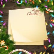 Paper note banner Christmas decoration. EPS 10 - stock illustration