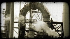 Stock Video Footage of Kuwait oil refinery 6. Vintage stylized video clip.