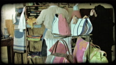 Man in Shop 2. Vintage stylized video clip. - stock footage