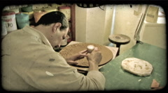 Man with clay 1. Vintage stylized video clip. Stock Footage