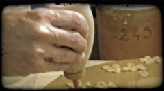 Man with clay 5. Vintage stylized video clip. - stock footage